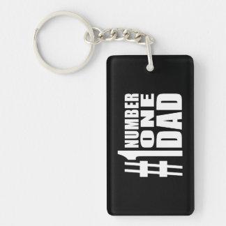 #1 Dad Birthdays & Christmas : Number One Dad Double-Sided Rectangular Acrylic Keychain
