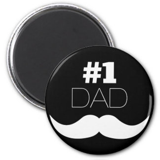 #1 Dad Black and White Mustache - Number One Magnet