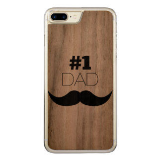 #1 Dad Black Mustache - Number One Carved iPhone 7 Plus Case