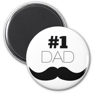 #1 Dad Black Mustache - Number One Magnet