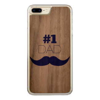 #1 Dad Blue Mustache - Number One Carved iPhone 7 Plus Case