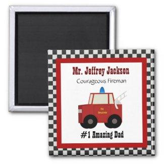 #1 Dad: Fireman Magnet magnet
