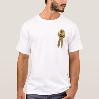 #1 Dad Gold Medal Ribbon On T-Shirt