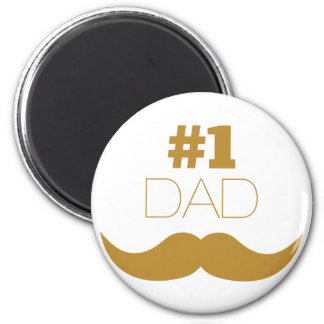 #1 Dad Gold Mustache - Number One Magnet