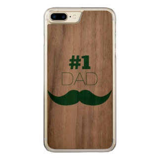 #1 Dad Green Mustache - Number One Carved iPhone 7 Plus Case