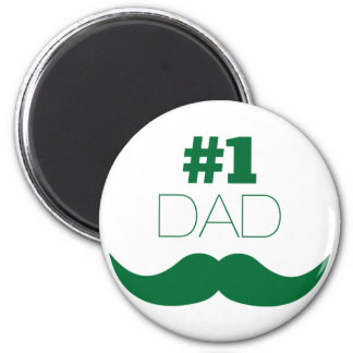 #1 Dad Green Mustache - Number One Magnet