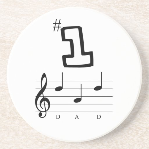 #1 Dad in Musical Notation Beverage Coaster
