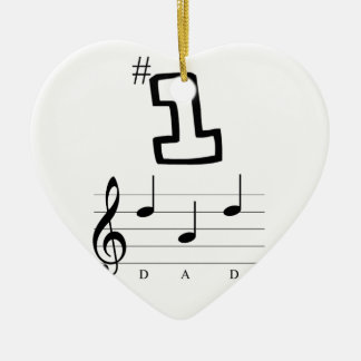 #1 Dad in Musical Notation Ceramic Ornament