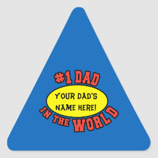 #1 Dad in the World Customize Father's Day Triangle Sticker