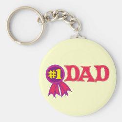 Basic Button Keychain with #1 Dad Award design