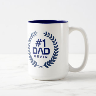 1 Dad Navy Blue Wreath Custom Name Two Tone Coffee Mug