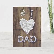 #1 Dad on Wood Photo Frame Card - #1 Dad spelled out with slotted screws on a wooden background with a heart cut-out for you to upload a favorite photo into! Great for Father's Day, especially for father's who are into woodworking and carpentry!