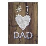 #1 Dad on Wood (photo frame) Greeting Card