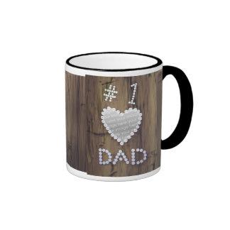 #1 Dad on Wood (photo frame) Ringer Mug