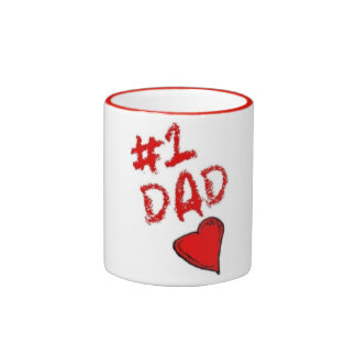 #1 dad red handled coffee cup