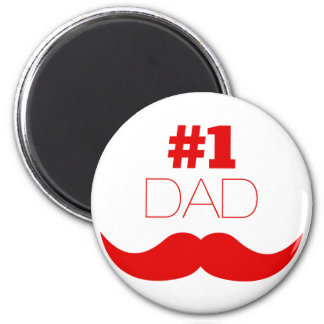 #1 Dad Red Mustache - Number One Magnet