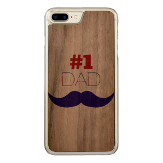 #1 Dad Red White and Blue Mustache - Number One Carved iPhone 7 Plus Case