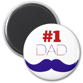 #1 Dad Red White and Blue Mustache - Number One Magnet