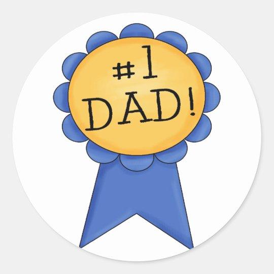 #1 Dad (ribbon) Classic Round Sticker