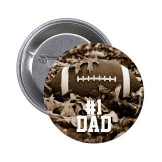 #1 Dad Sepia Football Button