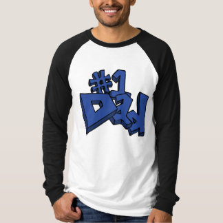 #1 Dad Text Design in Blue T-Shirt