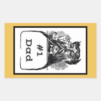 #1 Dad Vintage Drawing Rectangular Sticker
