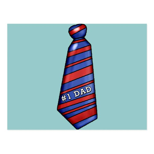 #1 Dad with Faux Tie on T-shirts Postcard