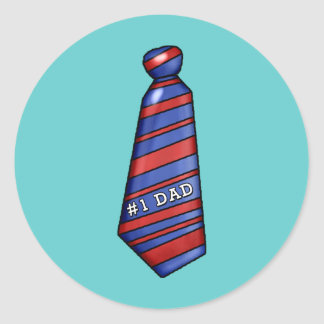 #1 Dad with Faux Tie on T-shirts Round Stickers