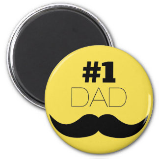 #1 Dad Yellow Mustache - Number One Magnet