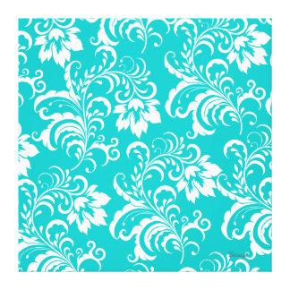 1 damasco blanco azul del trullo de la lona floral impresion en lona