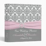 """1"""" damasco gris con la carpeta rosada del boda"""