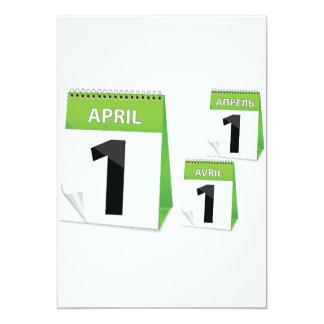 """1 de abril invitaciones del calendario invitación 5"""" x 7"""""""