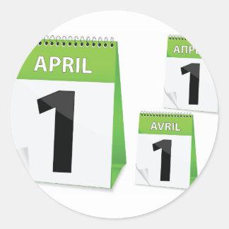 1 de abril pegatinas del calendario pegatina redonda