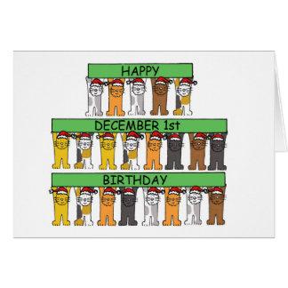 1 de diciembre cumpleaños celebrados por los gatos tarjeta de felicitación
