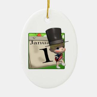 1 de enero ornamento para arbol de navidad