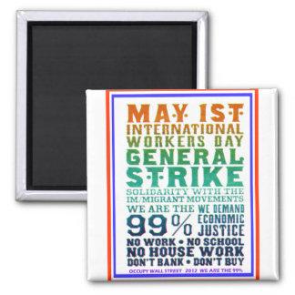 1 de mayo el día internacional de los trabajadores imán cuadrado