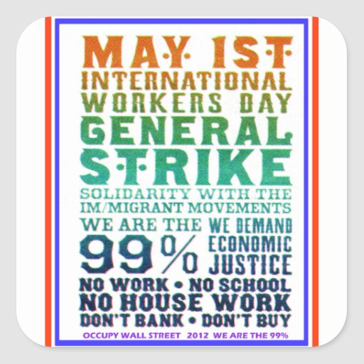 1 de mayo el día internacional de los trabajadores pegatina cuadrada