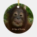 #1 fan of Krista Orangutan Double-Sided Ceramic Round Christmas Ornament