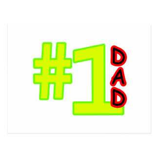 #1 Father's Day Yellow Red The MUSEUM Zazzle Gifts Postcard