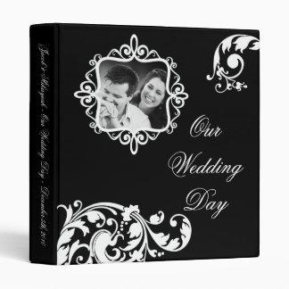 """1"""" floral blanco del negro del libro de recuerdos carpeta 1"""""""