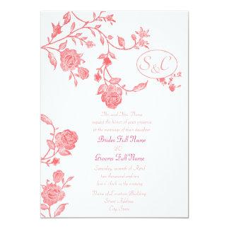 """1 floral invita, S, y, C, Sr. y señora Namerequ… Invitación 5"""" X 7"""""""
