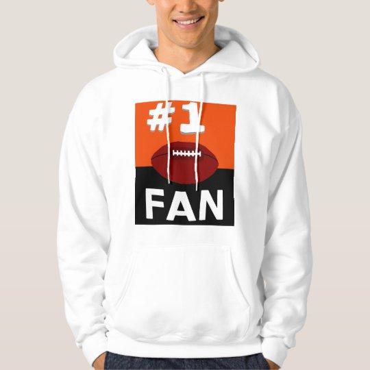 #1 Football Fan Orange and Black Hoodie
