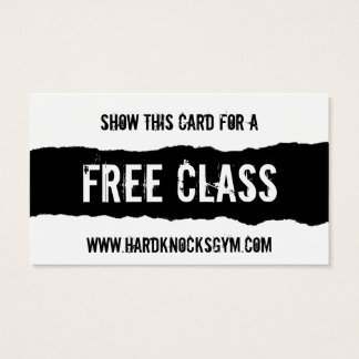 1 Free Class Workout Gym business card VIP pass
