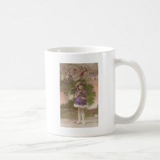 1 free vintage printable - cute purple dress girl mugs