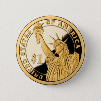 $1 Gold Coin Statue of Liberty Button