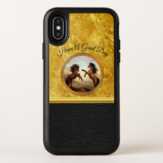 1 gold frame horses OtterBox symmetry iPhone x case