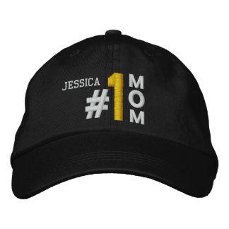 #1 gorra NEGRO V01 de la mamá del número uno Gorra De Beisbol Bordada