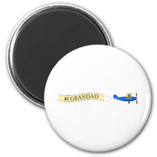 #1 Grandad Biplane Button Magnet