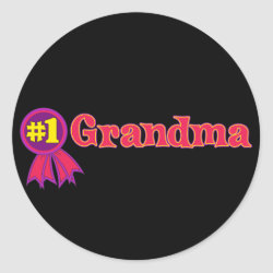 Round Sticker with #1 Grandma Award design