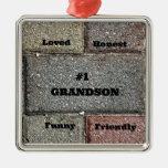 #1 Grandson Metal Ornament
